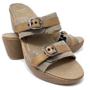 Dansko Jessie Brown Lizard Leather Buckle Sandals